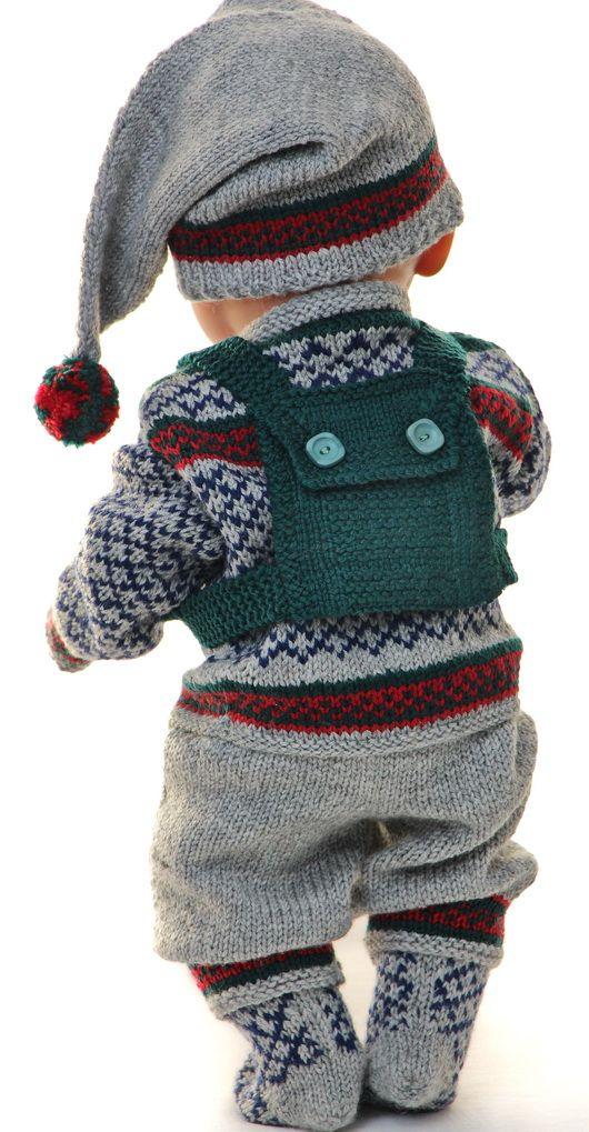 Strikk flott vinter antrekk til dukken