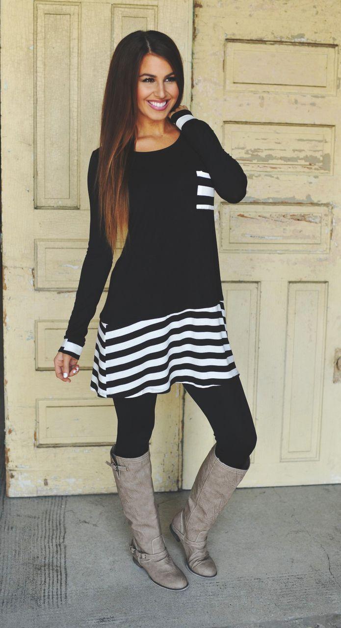 black tunic and leggings
