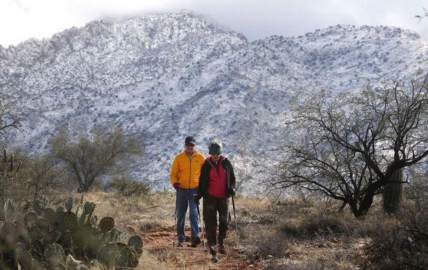 Photos: Snowfall in Tucson, Arizona, California