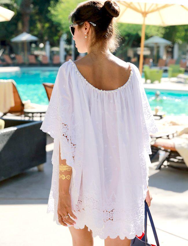 L'ample et courte robe blanche, une parfaite alternative au paréo ! (robe Elodie K - blog VivaLuxury)
