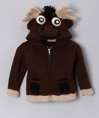 Take a look at this Brown Moose Zip-Up Hoodie - Toddler & Kids by EARTH RAGZ on #zulily today!