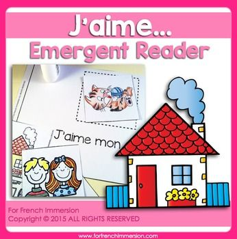 For French Immersion Emergent Reader - I love - J'AIME - en français