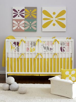 Cute, bright nursery! Love that yellow.Wall Art, Bright Nurseries, Colors Combos, Cribs Beds, Baby Room, Modern Nurseries, Baby Girls, Girls Nurseries, Nurseries Ideas