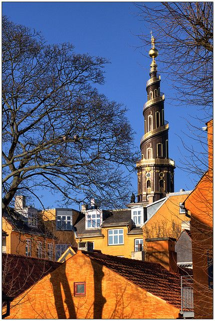 """Spiral tower (1749-1752) designed by Lauritz de Thurah for the Church of Our Saviour (1682-1695), """"Vor Frelsers Kirke"""" in Danish, in Copenhagen. The spire features 400 steps, the last 150 of which are outside."""