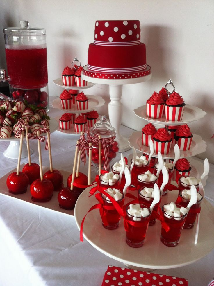 Red Amp White Red Birthday Party White Dessert Tables