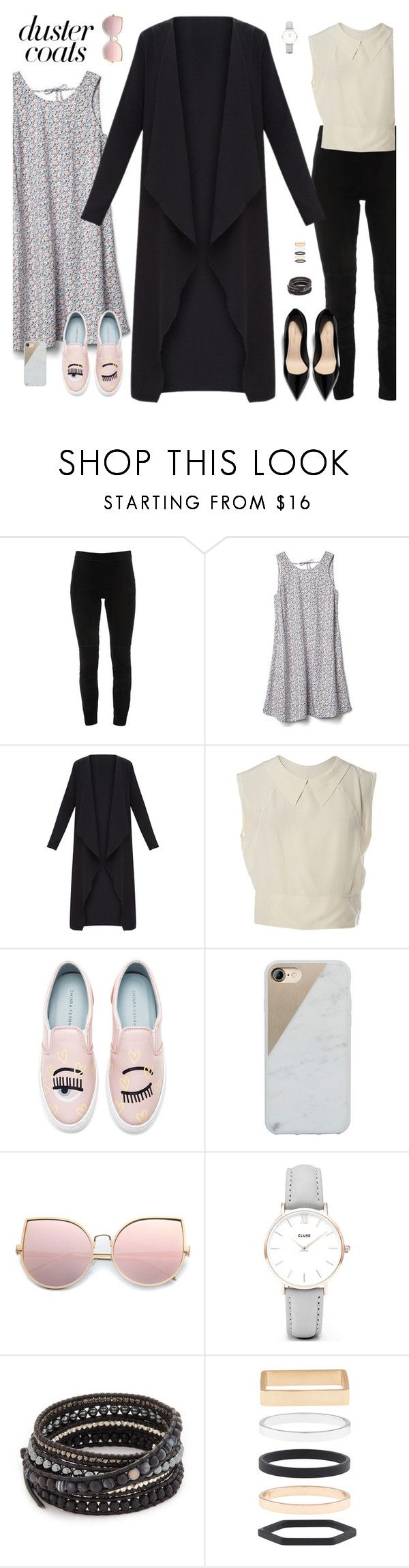 """#dustercoats"" by tothineownselfbtrue ❤ liked on Polyvore featuring Elie Tahari, Gap, Chanel, Chiara Ferragni, Native Union, CLUSE, Chan Luu, Accessorize and DusterCoats"