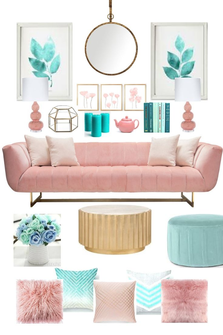 Home Decor And Furniture In Teal And Blush Pink Teal Room Decor Pink Living Room Pastel Living Room