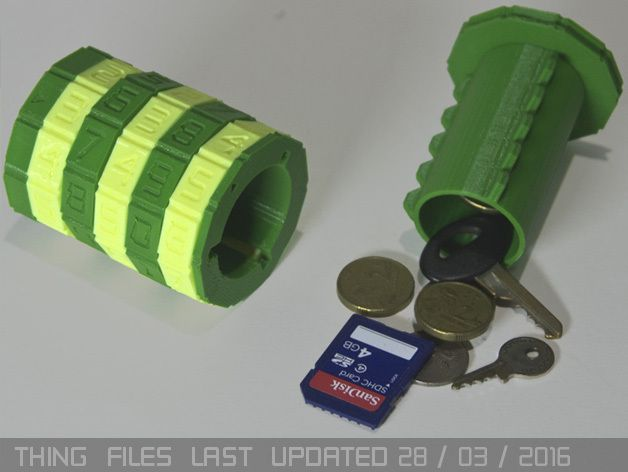 This five or seven character cryptex can be used as a small safe / money box and is ideal for giving small valuable items the kind of security that only comes form a pocket sized safe made of plastic. Enjoy!   FEATURES: •   Ether 5 or 7 x combination rings, each of which can be set to a custom number and can be changed at any time, by anyone possessing the combination to unlock the cryptex + Locking Tool.    •   100,000 or 10,000,000 possible combinations.   •   Sturdy construction. Unlike…