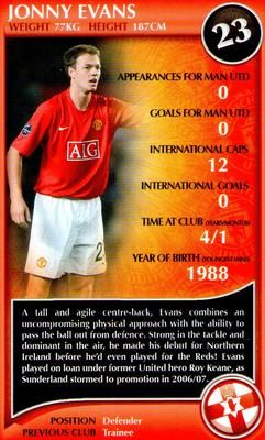 2009 Top Trumps Specials Manchester United #NNO14 Jonny Evans Front