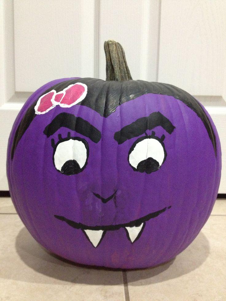 Cute vampire painted pumpkin.