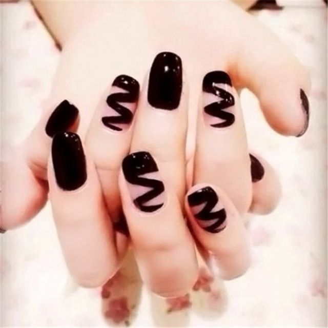 Online Shop 24pcs Punk Style Hippie Nail Tips Black Wave Pattern Solid Color Nail Art False Nails Gothic Long Design Full Cover Fake Nails|Aliexpress Mobile