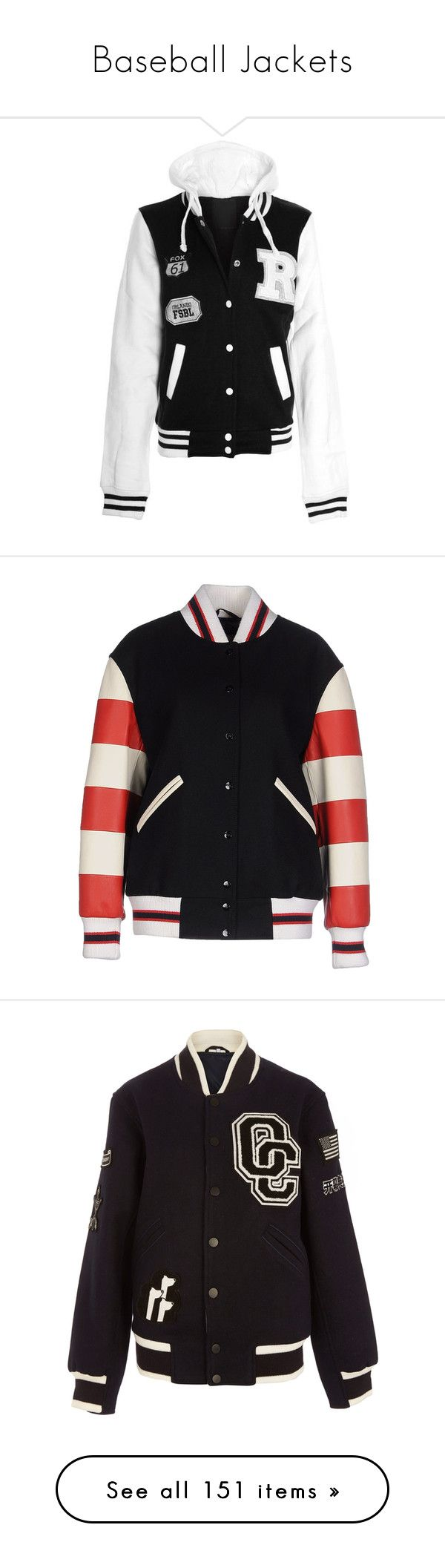 """Baseball Jackets"" by nattiexo ❤ liked on Polyvore featuring outerwear, jackets, tops, black, coats, pocket jacket, plus size jackets, blouson jacket, baseball jacket and snap jacket"