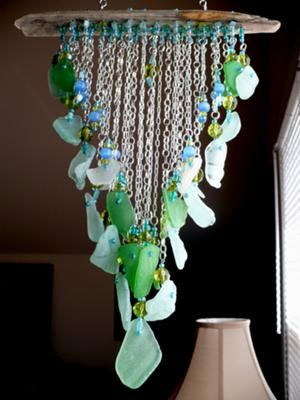 Coke Bottle Sea Glass Mobile: I craft Jewelry and Art around the Glass I find on Cape May shores The Oldest Victorian Vacation toem in the Country...but the mobiles are definitely my