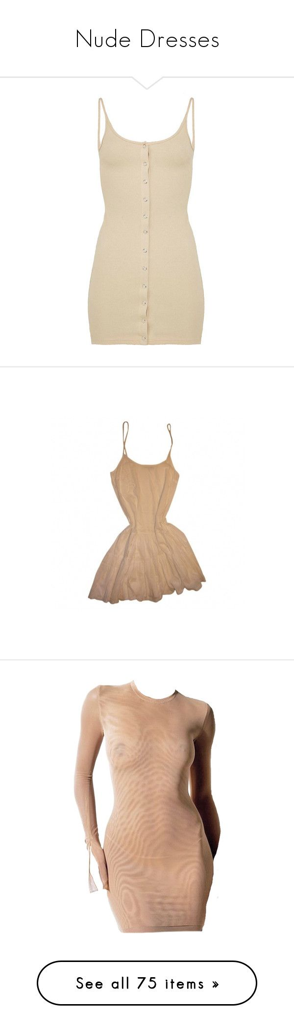 """Nude Dresses"" by styledbyro ❤ liked on Polyvore featuring dresses, beige dress, ribbed bodycon dress, silver dresses, stretch dresses, brown bodycon dress, tops, maje dress, maje and beige cocktail dress"