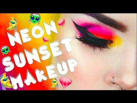 NEON SUNSET MAKEUP TUTORIAL | ATLEEEEY - YouTube