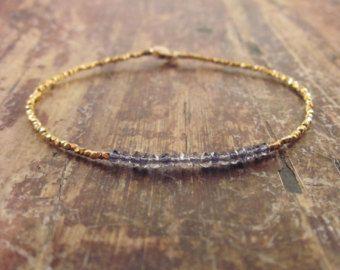 Edelsteen gelaagdheid armband  Iolite labradoriet & pyriet