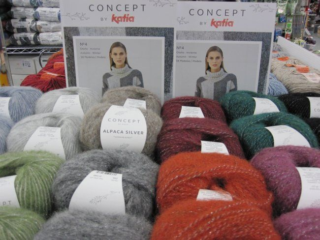 New for Fall, Alpaca Silver is part of the higher end Concept line by Katia. This beautiful yarn is a blend of alpaca, polyamide, and polyester and has a lovely halo through which the silver sparkles. Available in-store and online.
