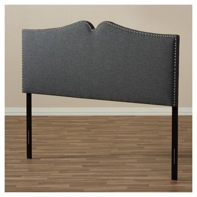 Gracie Modern and Contemporary Fabric Upholstered Headboard with Nail Heads Trim - Queen - Dark Grey - Baxton Studio, Gray