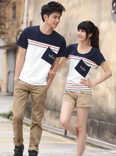 Color matching pocket design couples shirts couple for Couple polo shirts online