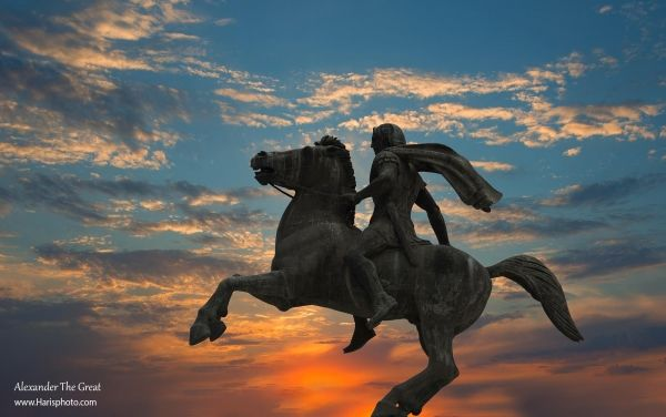 The statue of Alexander the Great against the sunset