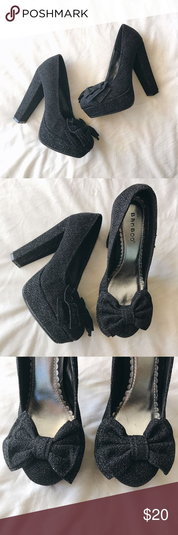 "🎉24 Hour FLASH SALE - Sparkle + Bow Heels Adorable black sparkly heels featuring bows and a block heel! Heel 5"". Never worn. Too small for me. Ships next day. Shoes Heels"