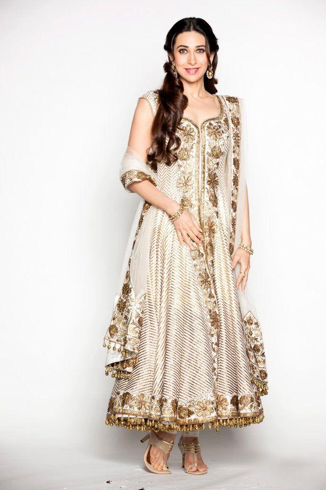 Bollywood dazzler and a true #fashionista! Karishma Kapoor in her lovely flair #anarkali Visit Our Store: http://www.ethnicwholesaler.com/salwar-kameez/party-wear-salwar-kameez