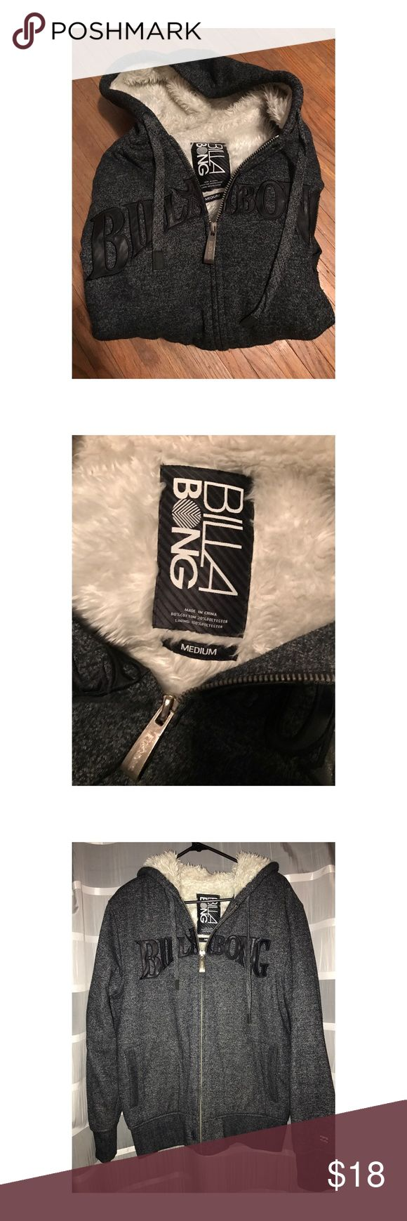 Men's Medium Faux Fur Blue Billabong Hoodie Gently worn faux fur blue zip up hoodie with bottle opener zipper Billabong Sweaters Zip Up