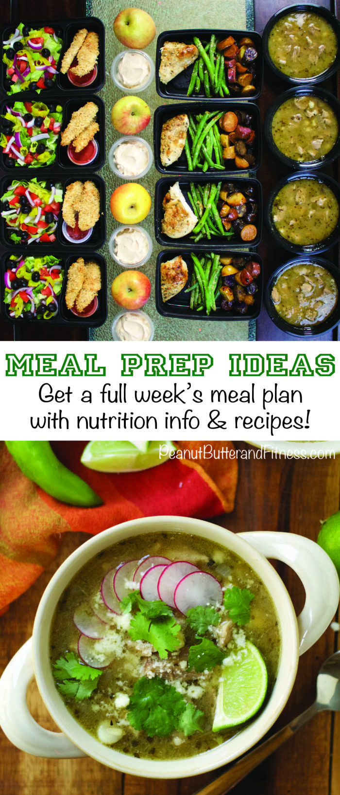 Meal Prep Ideas for the Week!  This week I've got: -> Chicken Parmesan Tenders with Olive Garden Salad -> Skillet Honey Garlic Chicken with Fingerling Potatoes and Green Beans -> Slow Cooker Posole Verde -> Snacks, including apples with PB yogurt dip  Recipes with nutrition info in the link!