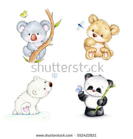Set of bears - koala, panda, polar bear, Teddy bear