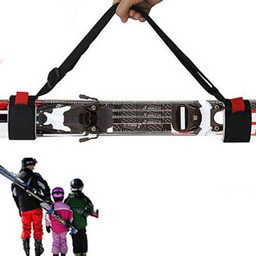 1 Pz Regolabile Durevole Nero Rosso Colori Sci Pole Mano Spalla Portante Lash Maniglia Cinghie Sacchetto di Snowboard Hook Loop 100/110 cm