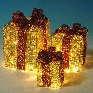 Φωτιζόμενα κουτιά δώρου χρυσά σετ 3 τεμάχια