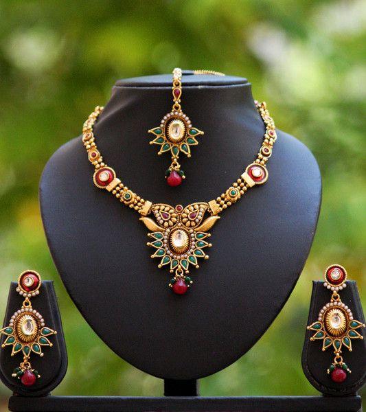 Designer Pearl Kundan & Polki Necklace Set