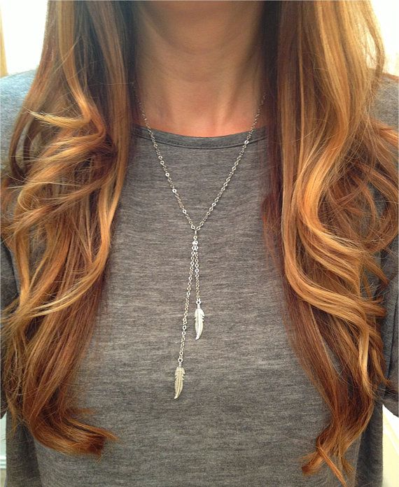 Double Feather Lariat Necklace  SILVER by elladolce on Etsy