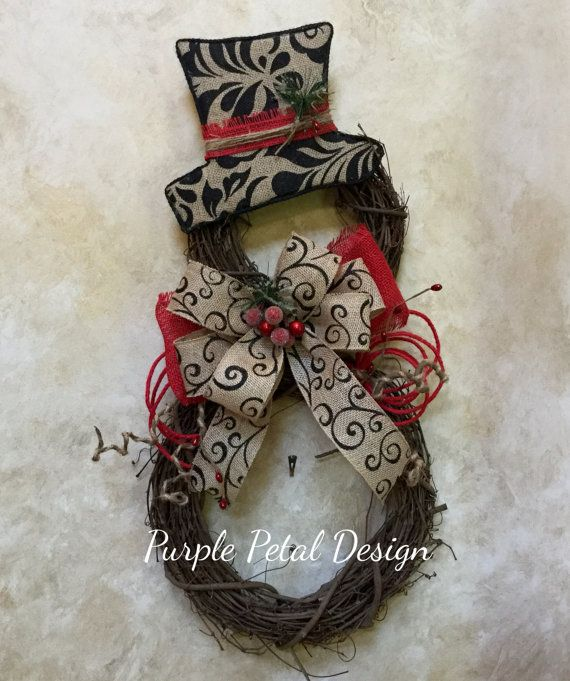 Snowman Wreath Christmas Wreath Grapevine by PurplePetalDesign                                                                                                                                                                                 More