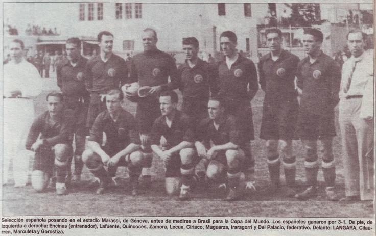 SELECCIÓN ESPAÑOLA DE FÚTBOL, MUNDIAL DE ITALIA 1934,PREVIA AL PARTIDO CONTRA BRASIL, Y QUE GANARON MOR MARCADOR DE 3-1
