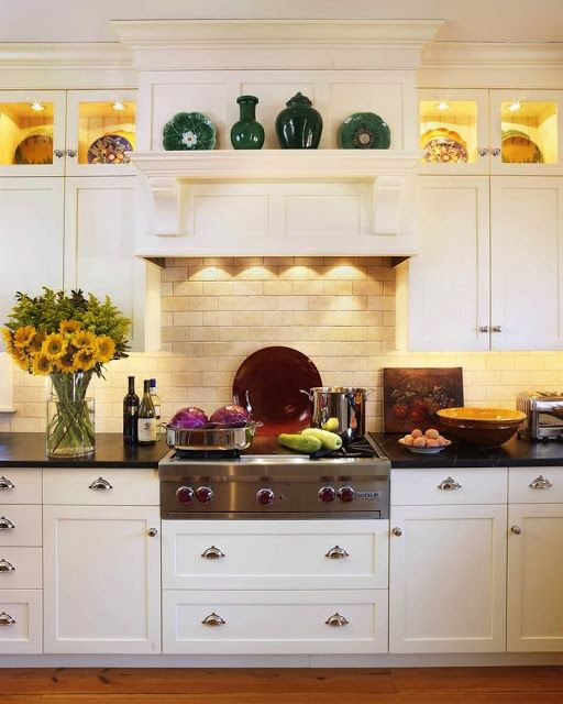 Range Hood And Upper Display Cabinets