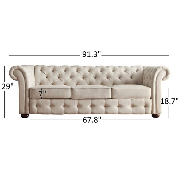 Knightsbridge Beige Linen Fabric Button Tufted Scroll Arm Chesterfield Sofa by…