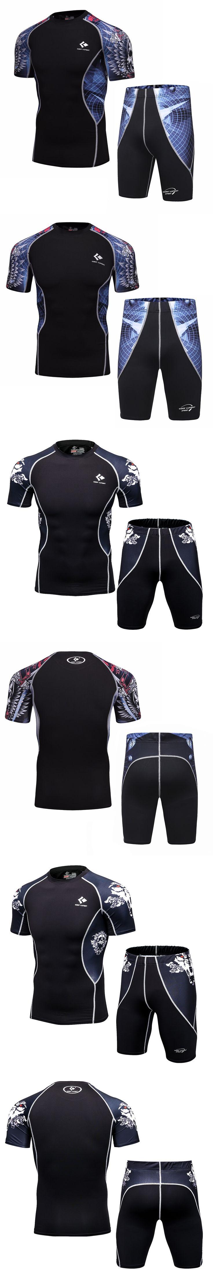 Men's Shirt Base Layer Suits 3D Teenager Short Sleeve + Short Pants Men's Lycra MMA Crossfit Tights Shorts Set Clothing