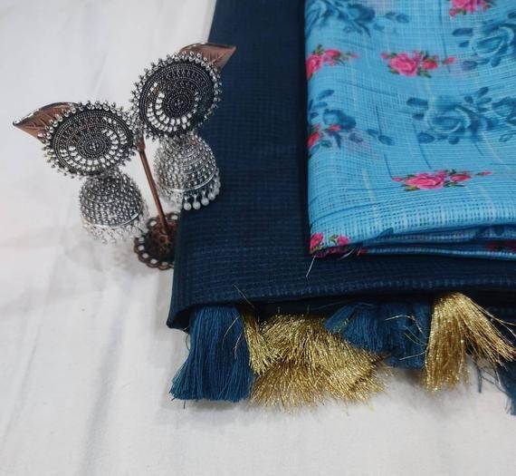 Soft cotton silk Chex and Satin Border saree and blouse for women,wedding saree,indian saree,saree dress,designer saree,sari,nevy blue saree