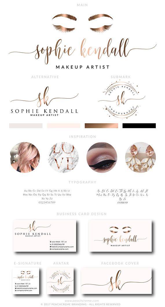 Makeup Logo Design Lashes Logo Design Rose gold Branding
