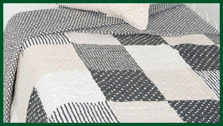 Quilt GRAU Mustermix Tagesdecke Patchwork 180*260