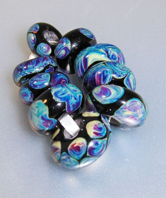 silver glass lampwork beads troll beads by