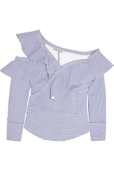 Blue and white cotton-poplin Asymmetric button fastenings along front 100% cotton Dry clean