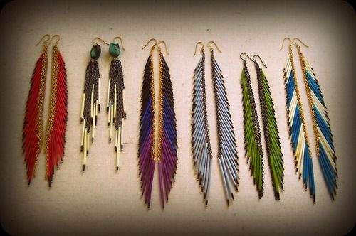 Beaded feather-esque earrings inspire