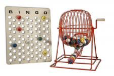 "Extra Large Red Ping Pong Bingo Cage Set; Includes Cage,  bingo balls, and master board; Stand 19"" H; Vibrant red finish"
