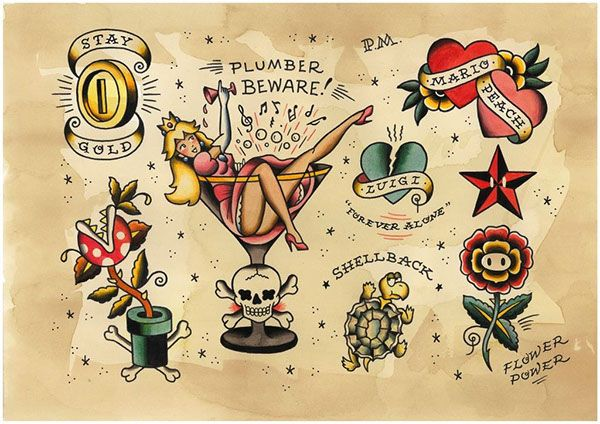 Tattoo flash sheets honouring some old-school videogame greats.
