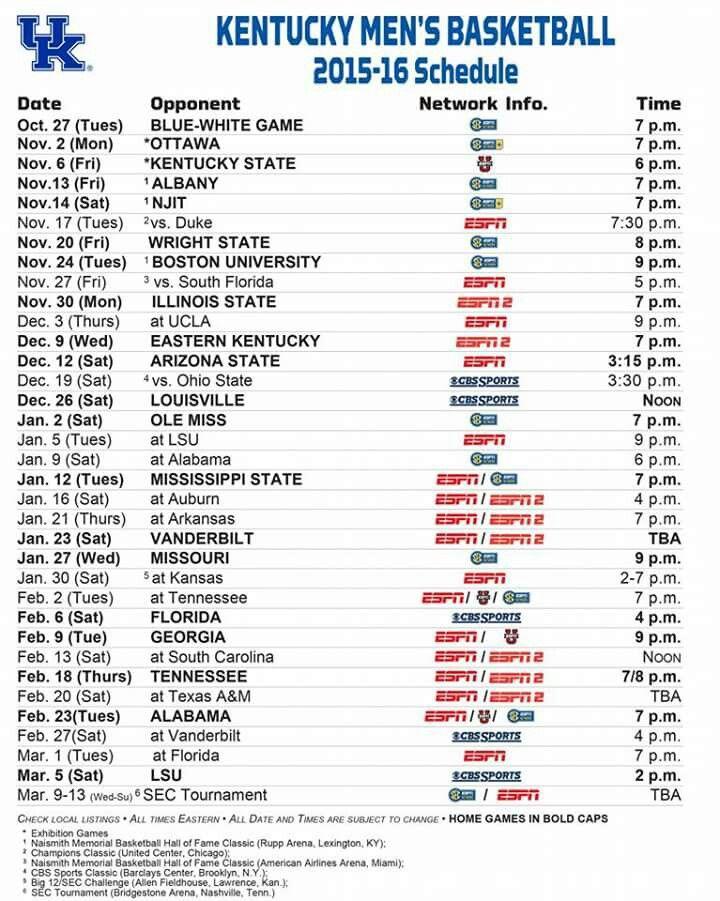 2015-16 UK  basketball schedule