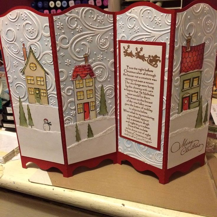 Screen divider card. Houses on embossed background. Inkylicious verse - T'was the night