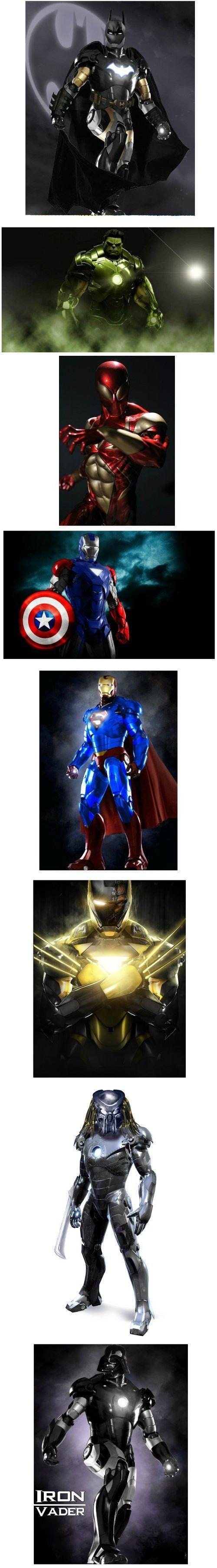 Superheroes in Iron Man suit - Superheroes,Iron Man,Batman,Hulk,Spider-man,Captain America,Superman,The Wolverine,Darth Vader  Hulk looks Beast