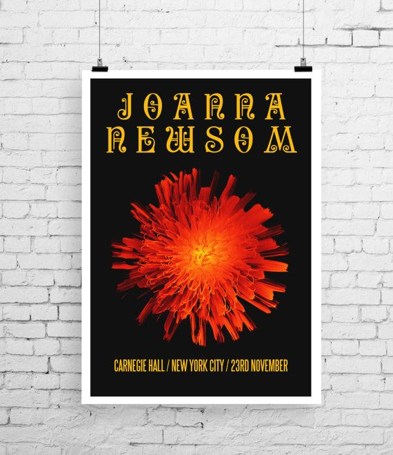 Joanna Newsom art print gig poster art music by TheIndoorType